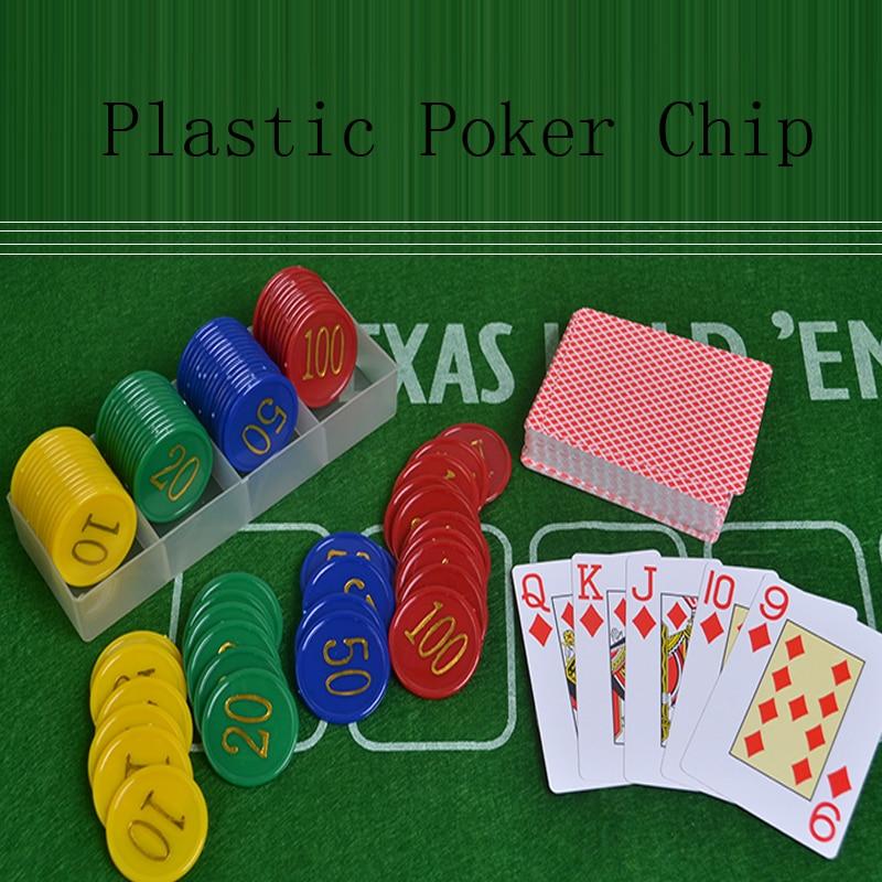 80Пцс Пластиц Покер Цхип Голден Биг Нумберс Покер Цхип Сет Бок Игри токени Пластични Монети Јетонс Де Покер Еуцатионал Гамес