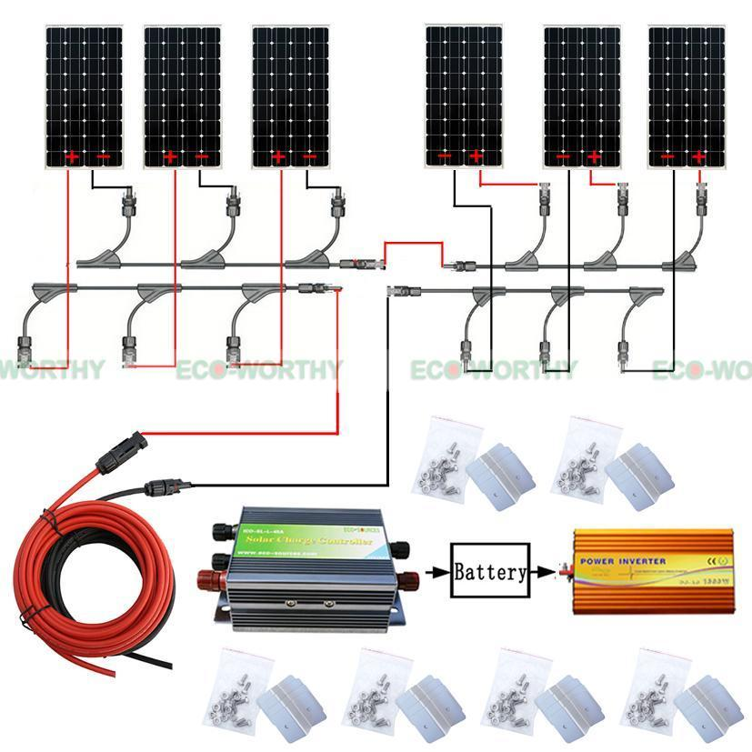 960W Solar System 6pcs 160W Mono Solar Panel w/ Inverter for off Grid Power Home energy efficient system for solar panel