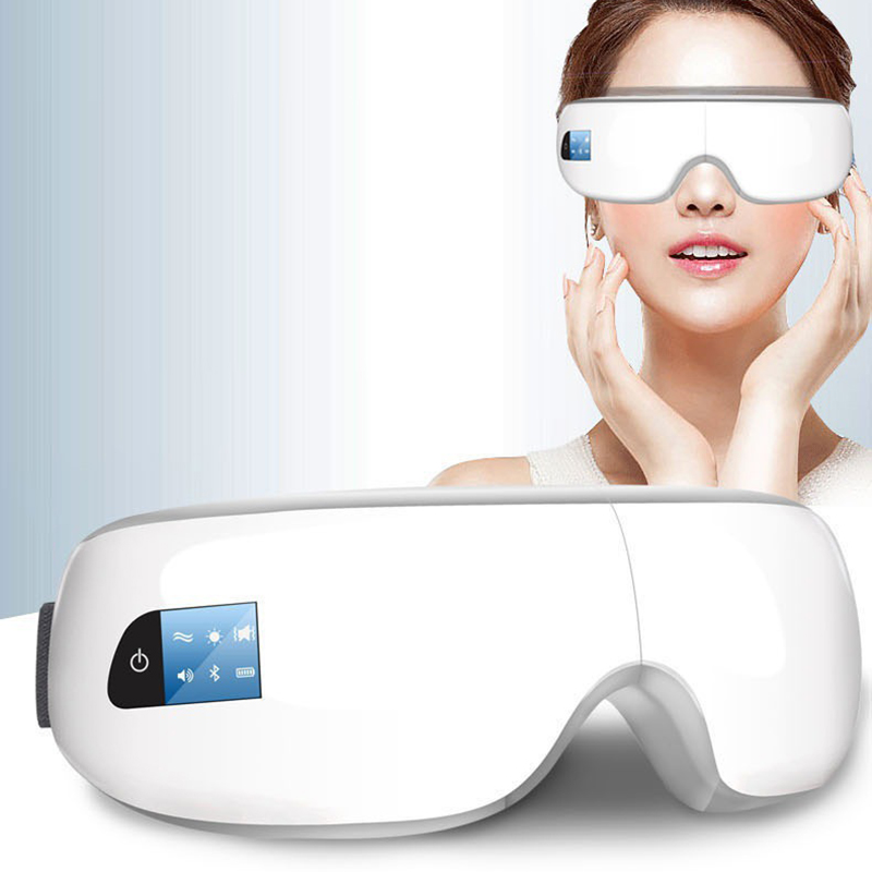 1Pcs Wireless Digital Eye Massager with Heat Compression Air Pressure Music & Eye Care Stress Relief goggles masajeador de ojos portable lcd digital manometer pressure gauge ht 1895 psi air pressure meter protective bag manometro pressure meter