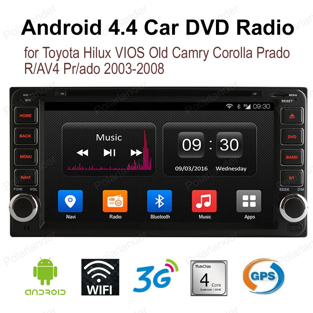 2 din Android4.4 voiture DVD CD GPS wifi radio stéréo pour Toyota Hilux VIOS vieux Camry Corolla Prado RAV4 Prado 2003-2008