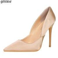Qzyerai Европейский стиль простой тонкий каблук высокий каблук Атлас закрытым острым пикантные открытые женская обувь черного цвета размер ...