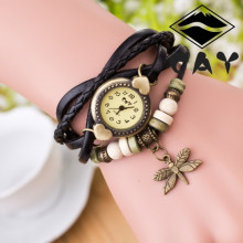 reloj mujer antique bracelet ladies wrist watches weaved leather band with dragonfly charm and wooden beads quartz watch women