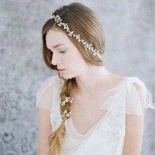 Dower me Fashion Freshwater Pearls Silver Long Hair Vine Bridal Headband Wedding Hair Accessories Handmade Women Headwear