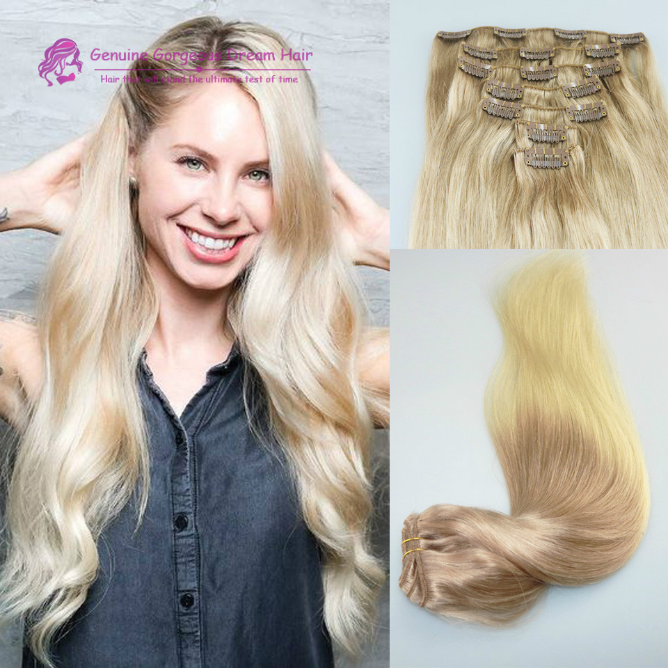 #8/613 Clip in human hair extensions Two tone clip in hair extensions for white women 120G Brazilian virgin human hair 7pcs