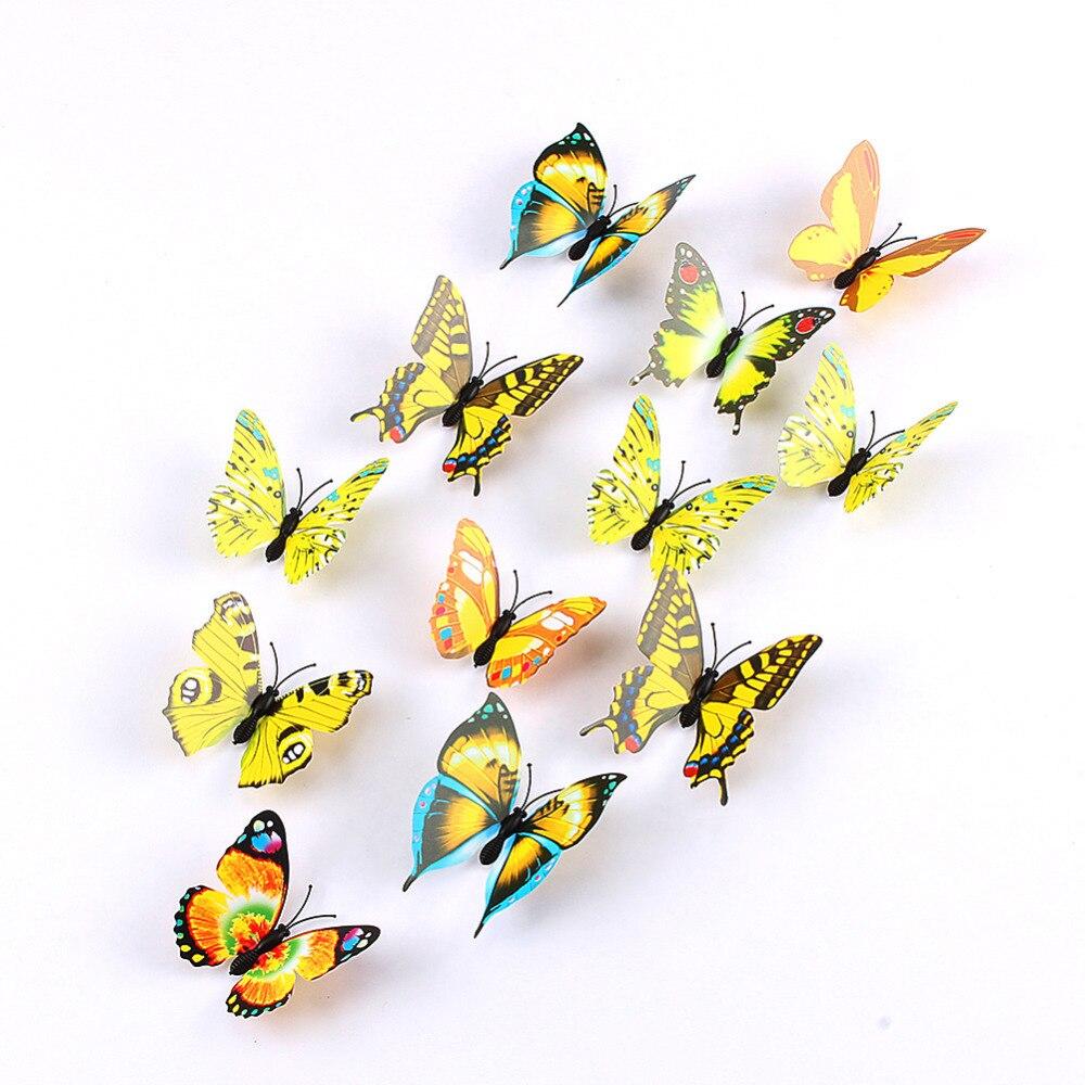 W 12pcs/lot Xmas Refrigerator Magnet Butterflies Sticker 3D DIY ...