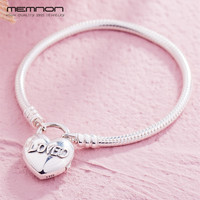 Silver 925 MOMENTS Smooth Bracelets for women with Loved Heart fit 925 sterling silver charms bracelets diy Snake Chain Bracelet