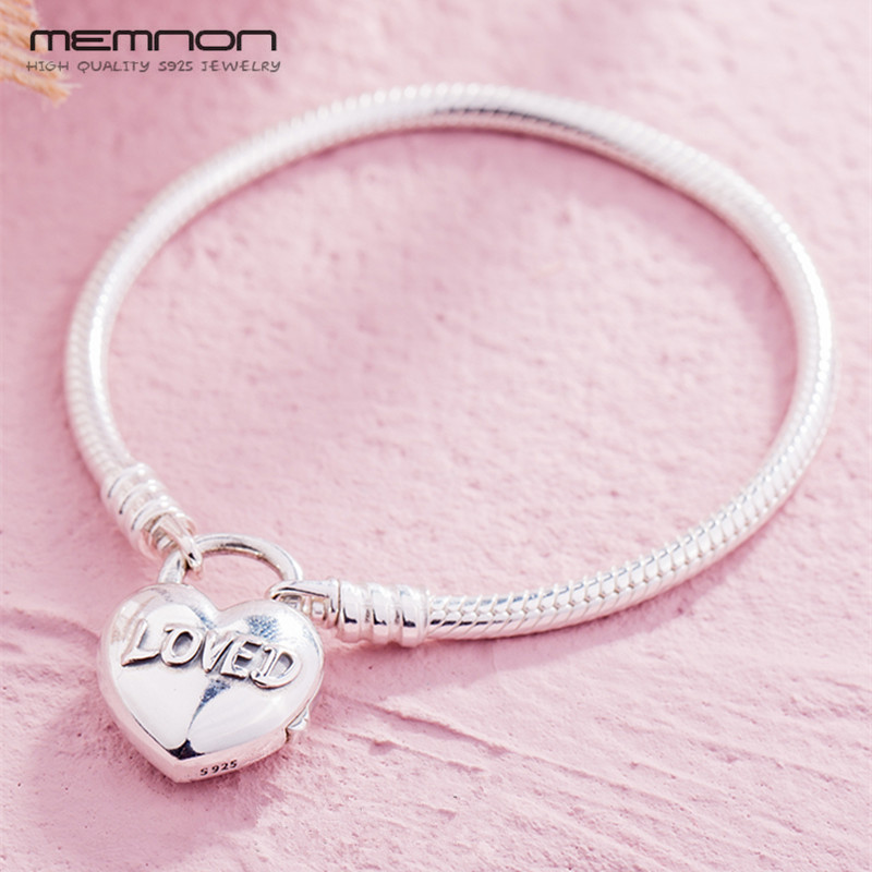 Silver 925 MOMENTS Smooth Bracelets for women with Loved Heart fit 925 sterling silver charms bracelets diy Snake Chain BraceletSilver 925 MOMENTS Smooth Bracelets for women with Loved Heart fit 925 sterling silver charms bracelets diy Snake Chain Bracelet