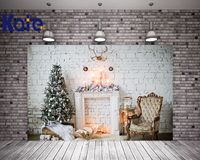 Kate Christmas Photography Backdrop White Brick Wall Fireplace Photo Backdrops Christmas Tree For Children Studio Background
