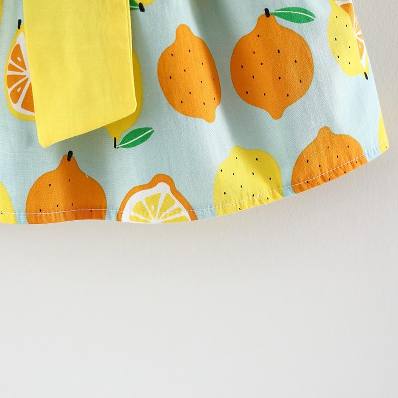 Letnie sukienki dla dziewczynki z cytryny Duże ubranie bez rękawów - Odzież dla niemowląt - Zdjęcie 5