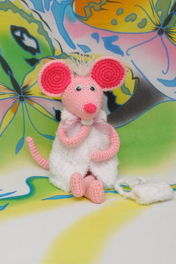 Crochet Mouse  Crochet Animal For Kids  Toy Amigurumi Toy For Kids Stuffed Animals Rattles
