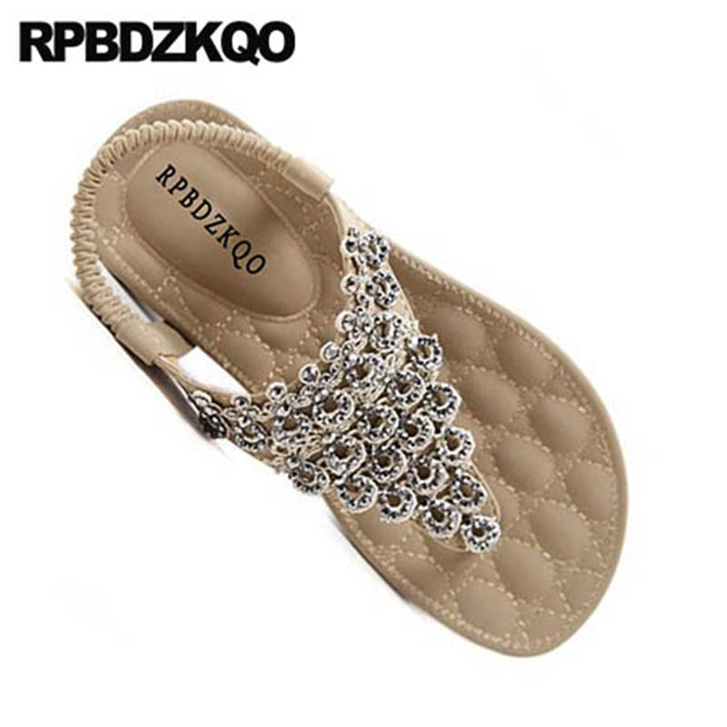 T Strap Women Flat Rhinestone Beach Shoes Sandals Leisure Fashion Bohemia  Style Thong Crystal Wide Fit Diamond Nude Large Size-in Low Heels from Shoes  on ... 6ae220fdfeee