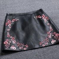 Женские Костюмы 2018 вышивка женская юбка короткая черная кожаная юбка трапециевидной формы с оборками юбки женские женская одежда Saia Миди