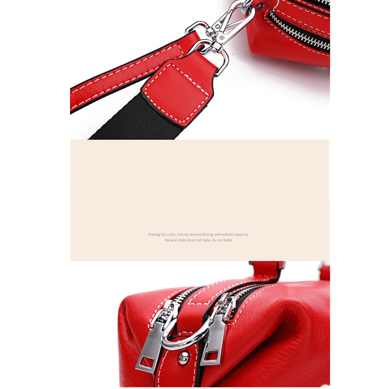 The First Layer of Leather Boston Bag Female Messenger Bag Leather Handbag Tassel Shoulder Bag strap removable personality purse - 3
