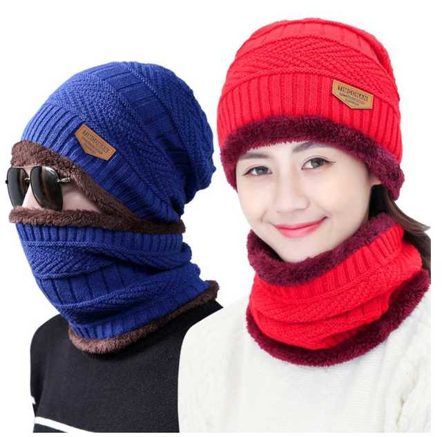 Fashion Hats Men Winter Wool Ski Hat scarf Set Head hooded Cap Earmuffs  Head Caps women ba03925d1909