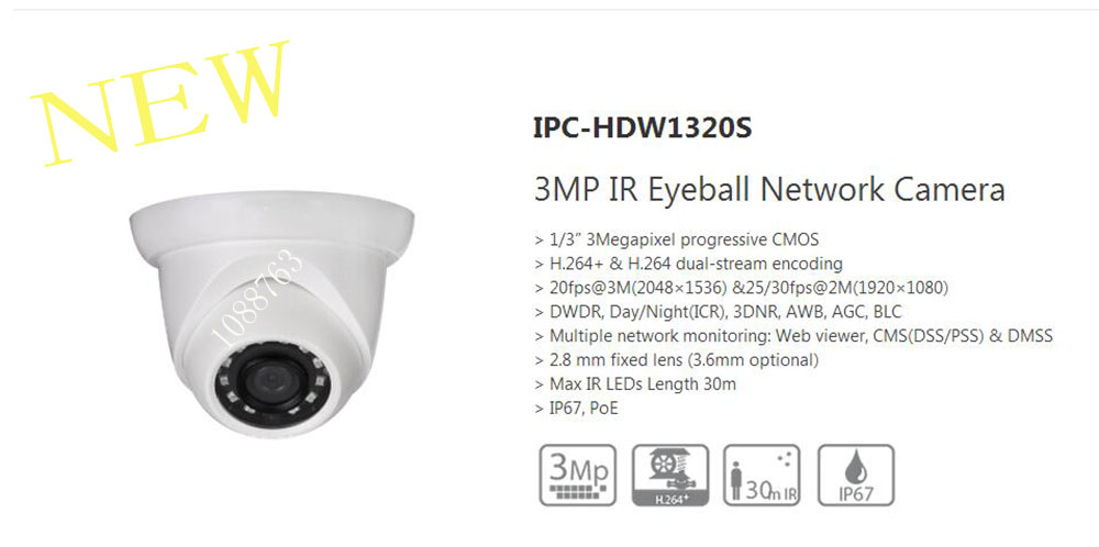 In Stock Free Shipping DAHUA IP Camera CCTV 3MP Full HD Small IR Eyeball Camera with POE IP67 without Logo IPC-HDW1320S цена 2017
