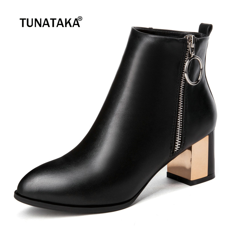 Women Black Fashion Ankle Boots Pu Leather Thick Heel Zipper Boots Pointed Toe Spring Autumn Woman Shoes Plus Size 43 2018 size 34 43 2016 fashion women s ankle boots black motorcycle pu leather boots solid pointed toe martin boots autumn shoes