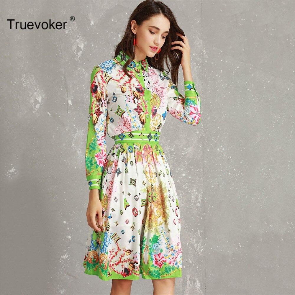 Truevoker 2019 Spring Designer Set Suit Women s Long Sleeve Green Geometric  Printed Beading Shirt + Pleated a494f1731893