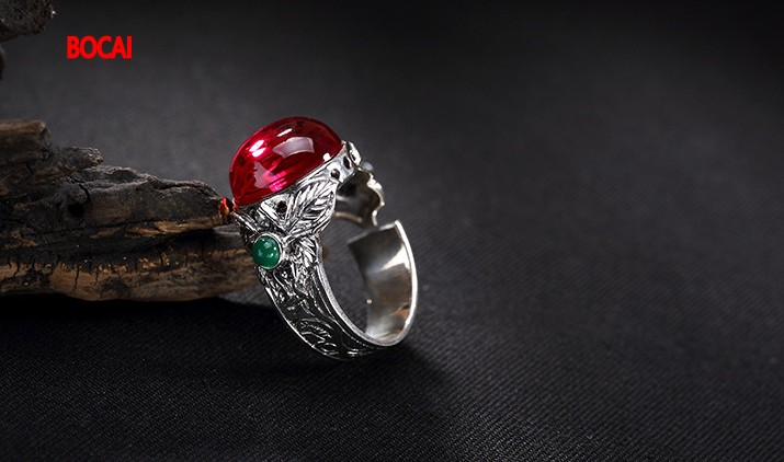 S925 pure silver red corundum chrysoprase open upscale atmosphere special restoring ancient ways ring
