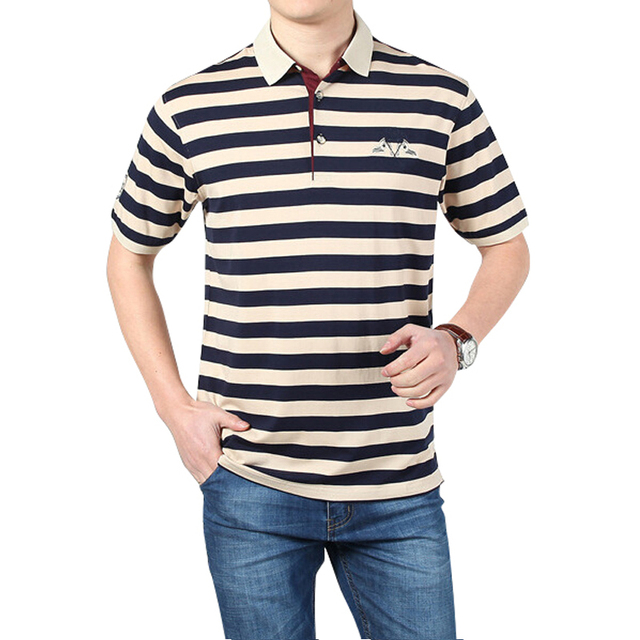 2017 New Brand Men's Polo Shirts Cotton England Style Short Sleeve Polo Shirt Men Striped Turndown Collar Polos