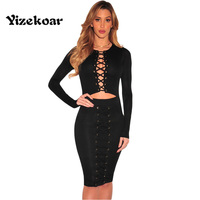 2017 Women Black Lace Up Cut Out Long Sleeves Club Wear Bodycon Dress Black Friday Vestidos