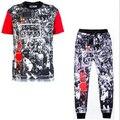 2016 Verano estilo trapecio de Impresión 3d t shirt + corredores hombres/mujer JORDAN sweatpants 2 unidades set tamaño más M-XXL Envío gratis