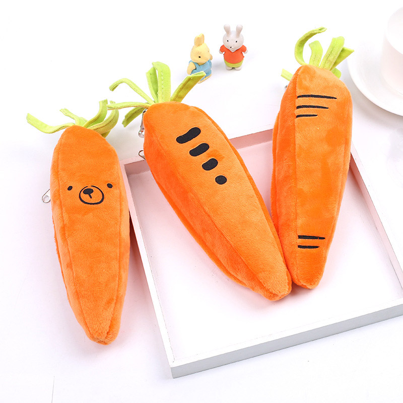 Cute Cartoon Pencil Case Stationery Carrot Plush Pencilcase Back to School  Bear Pencil Bag Bts For Kids Gift Creative Papeterie Пенал
