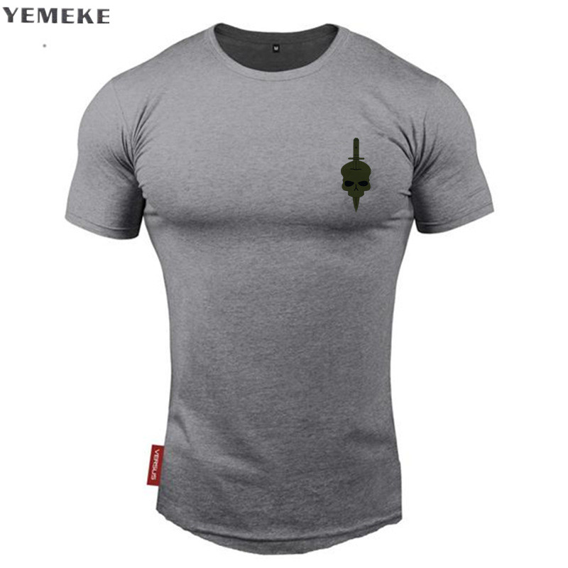 YEMEKE Men Cotton Casual T-shirt O neck short sleeve