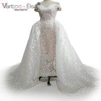 VARBOO_ELSA robe de mariage 2018 Sevgiliye Dantel Gelinlik Mermaid gelinlik giymek Ayrılabilir tren Fildişi gelinlikler