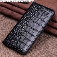 Genuine Leather flip phone Case For Nokia X6 X 6 2018 TA 1099 case back case cover For NokiaX6 case 5.8 inch back cover Shell