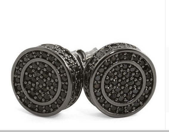 2017 Ice out Real micro pave cz BLACK GOLD BLACK ROUND Cool mens hip hop 925 silver screw back earring