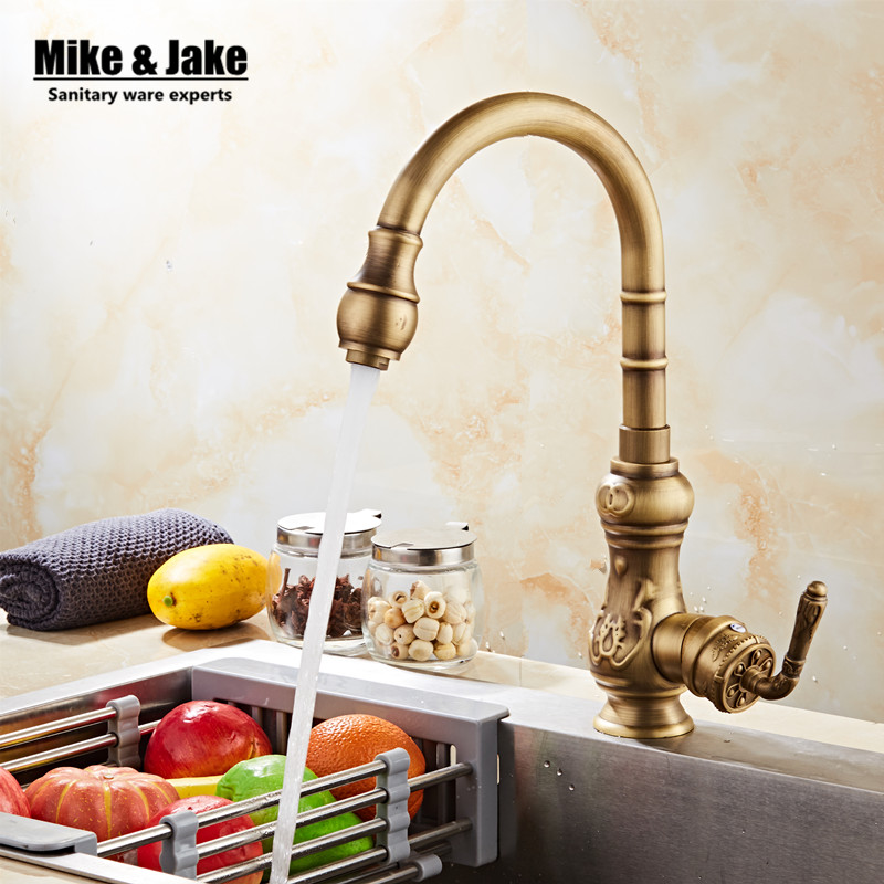 Antique Brass kitchen faucet vintage kitchen sink tap brass tap torneira banheiro basin mixer water small faucet GYD8521 new arrival tall bathroom sink faucet mixer cold and hot kitchen tap single hole water tap kitchen faucet torneira cozinha