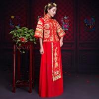 Traditional Chinese Bride Wedding Dress Qipao Vestido Oriental Style Dresses Modern Cheongsam Red Embroidery