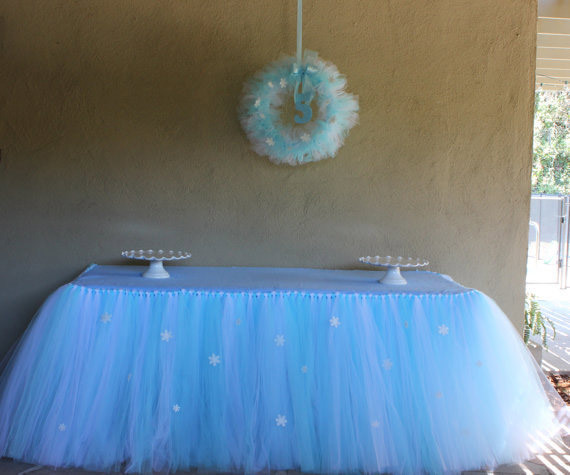 Hot Sale Decoration Tulle Table Tutu Custom Winter Wonderland Skirt Birthday Baby Shower Princess Holiday