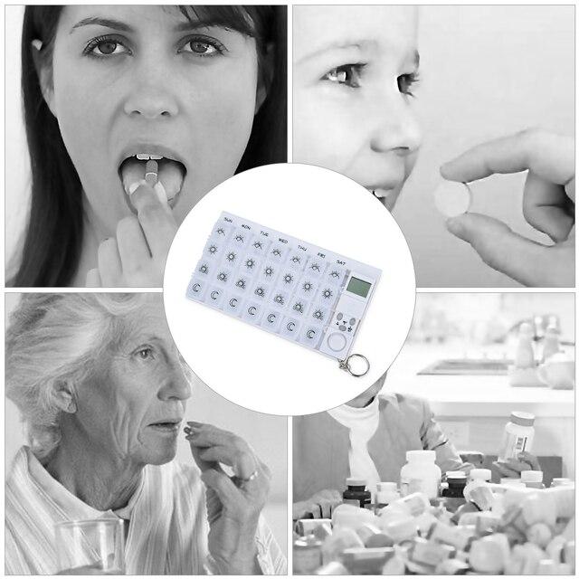 7 jours boîte à pilules médecine pilule Case organisateur LED minuterie rappel 28 grilles hebdomadaires comprimés stockage pilule distributeur réveil