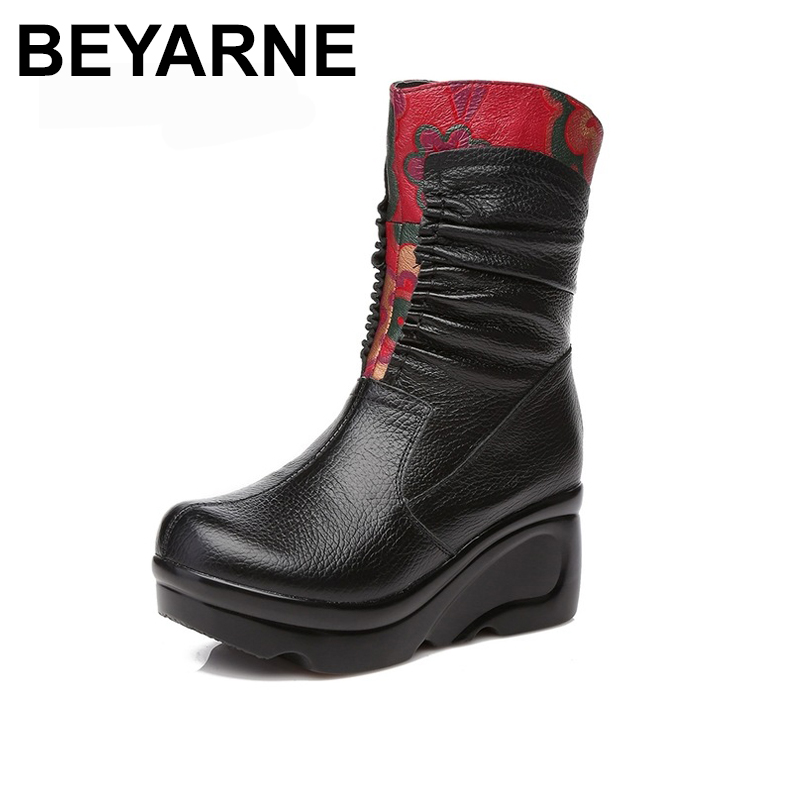 BEYARNE Fashion Women Winter Genuine Leather Boots Handmade Vintage Slip resistant Mar Boots Wedges Shoes Woman