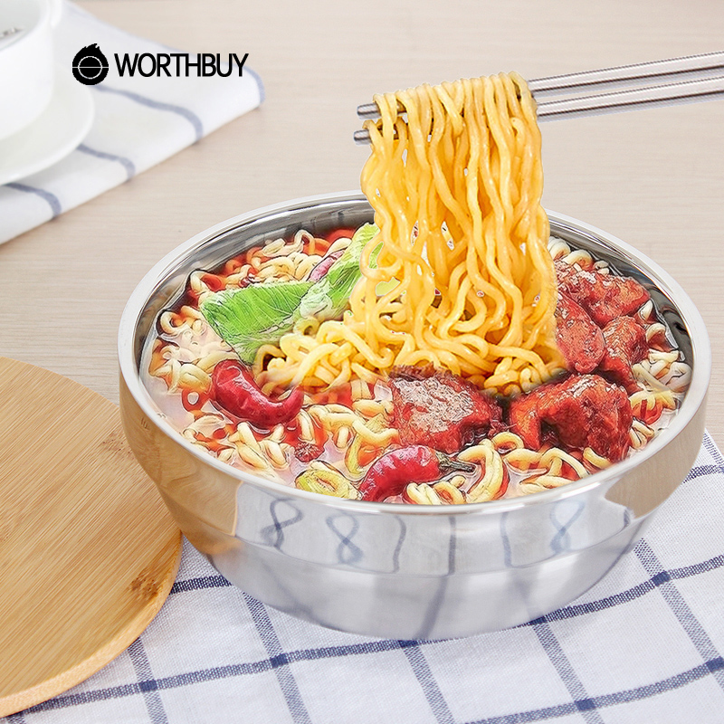 WORTHBUY Japanese Stainless Steel Instant Noodle Bowl With Lid 1000ml High-capacity Fruit Rice Salad Bowl Soup Food Container