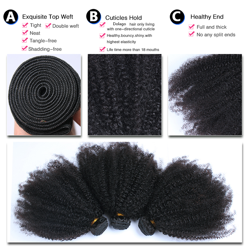 "Image 5 - Mongolian Afro Kinky Curly Hair Weave 4B 4C Natural Black Raw Remy Human Hair Bundles Extension 3 Hair Products Venvee 10 26""-in Hair Weaves from Hair Extensions & Wigs"
