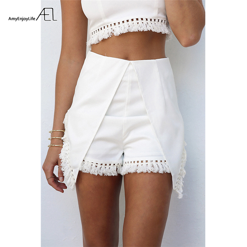 Womens Sexy Casual Slim Sleeveless Tank Vest Solid Color Crop Top with Tassels Two Piece Set