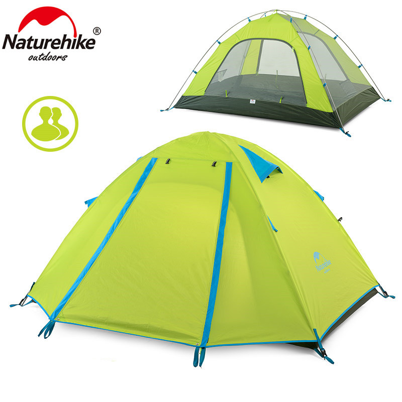 Naturehike New arrival tent NH15Z003-P Ultralight 2 Person Double layers 210T Polyester Camping Tent Waterproof Sunshade Canopy high quality outdoor 2 person camping tent double layer aluminum rod ultralight tent with snow skirt oneroad windsnow 2 plus