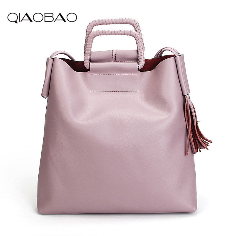 QIAOBAO 2018 Women Bag 100% Real Leather Handbags For Teenager Girl Fashion Female Messenger Bags Luxury Ladies Casual Totes qiaobao 100% genuine leather bags for women shoulder bag leather bucket ladies fashion handbags