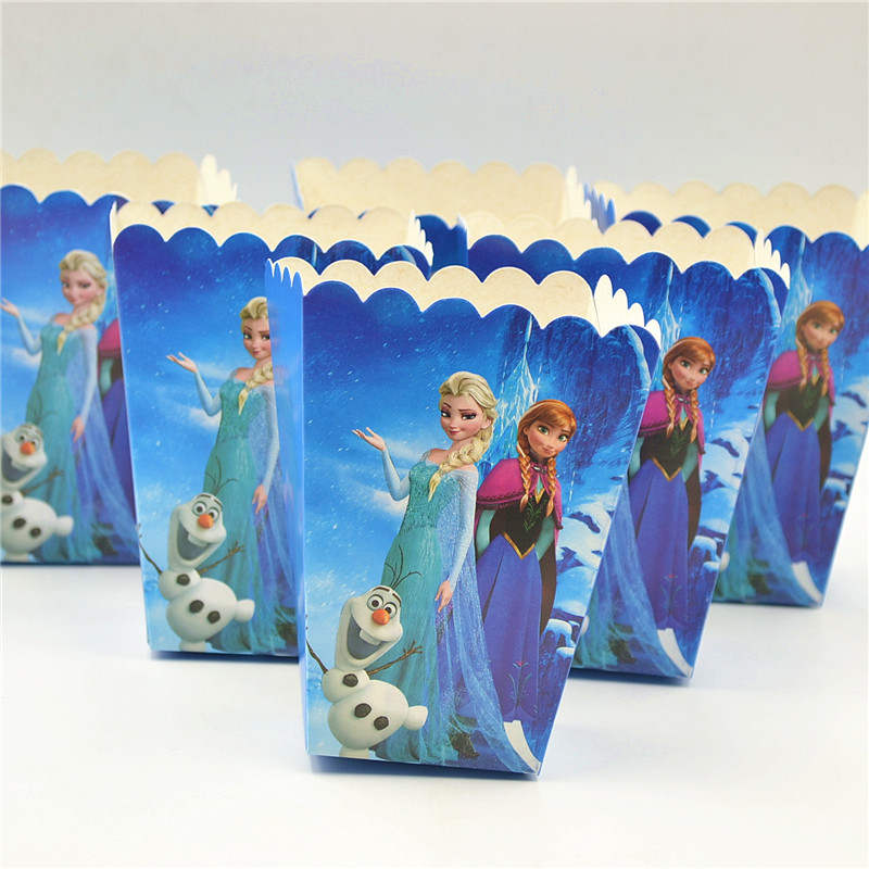 Disney Cartoon Frozen Box 6pcs/Lot Disposable Paper Box Princess Anna Elsa Theme Birthday Party Baby shower Popcorn Box SuppliesDisney Cartoon Frozen Box 6pcs/Lot Disposable Paper Box Princess Anna Elsa Theme Birthday Party Baby shower Popcorn Box Supplies