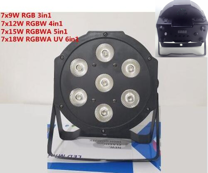 RGBWA UV 7x18W LED Flat SlimPar RGBWA UV Light 6in1 led par DJ Wash Light Stage dmx light lamp dmx controller 6/10 channes