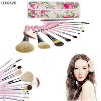 Professional Soft Cosmetic Makeup Brush Set Flower Pouch Bag Case Lip Brush