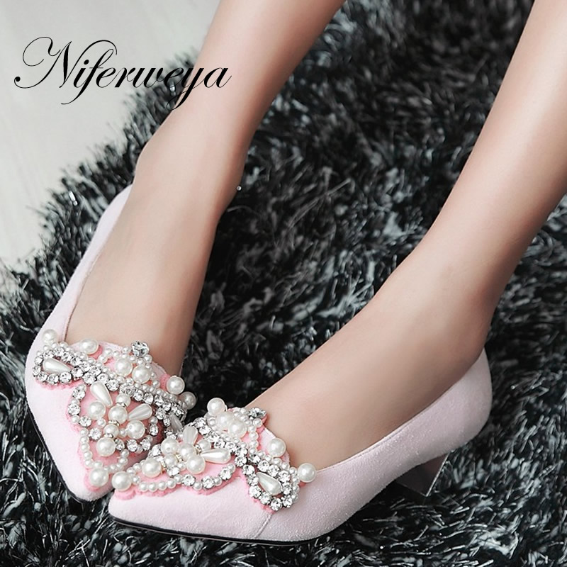 ФОТО Spring/Autumn low heel shoes big size 32-43 Pointed Toe suede ladies pumps Beading decoration Slip-On red women wedding shoes