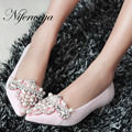 Spring/Autumn low heel shoes big size 32-43 Pointed Toe suede ladies pumps Beading decoration Slip-On red women wedding shoes