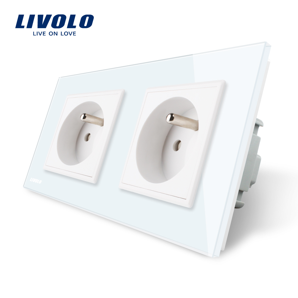 LIVOLO 16A French Standard, Wall Electric / Power Double Socket / Plug, Crystal Glass Panel,VL-C7C2FR-11 15a 16a south africa socket and double ubs socket wallpad 146 86mm white glass 2 usb ports and 16a sa switched socket with led