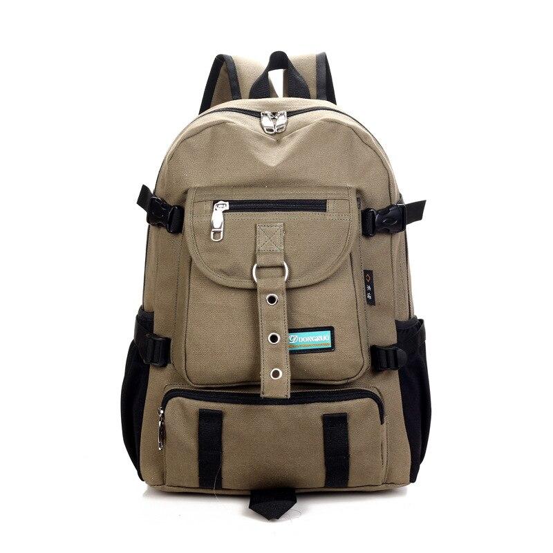 Canvas Double Shoulder Wear Resisting Backpack Leisure Multipurpose Travel Rucksack Large Capacity Design Square School Backpack