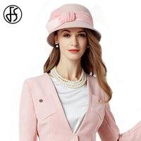 FS Winter 100% Australia Wool Hats For Women Fedoras Girls Pink Elegant Bowknot Wide Brim Felt Bowler Hat Chapeau Femme Feutre