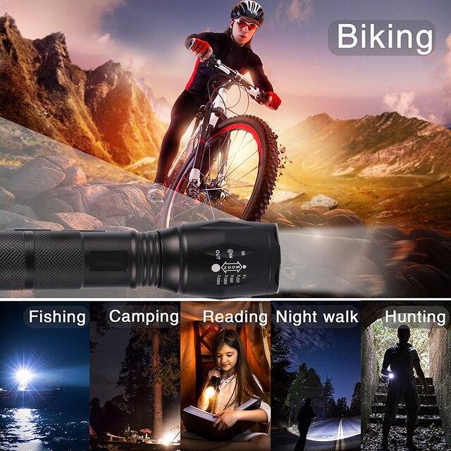 Farol dianteiro para bicicleta de 12000 lúmens, v6, l2, t6, led, ciclismo, luz dianteira, à prova d' água, zoom, lanterna by 18650 battey 6