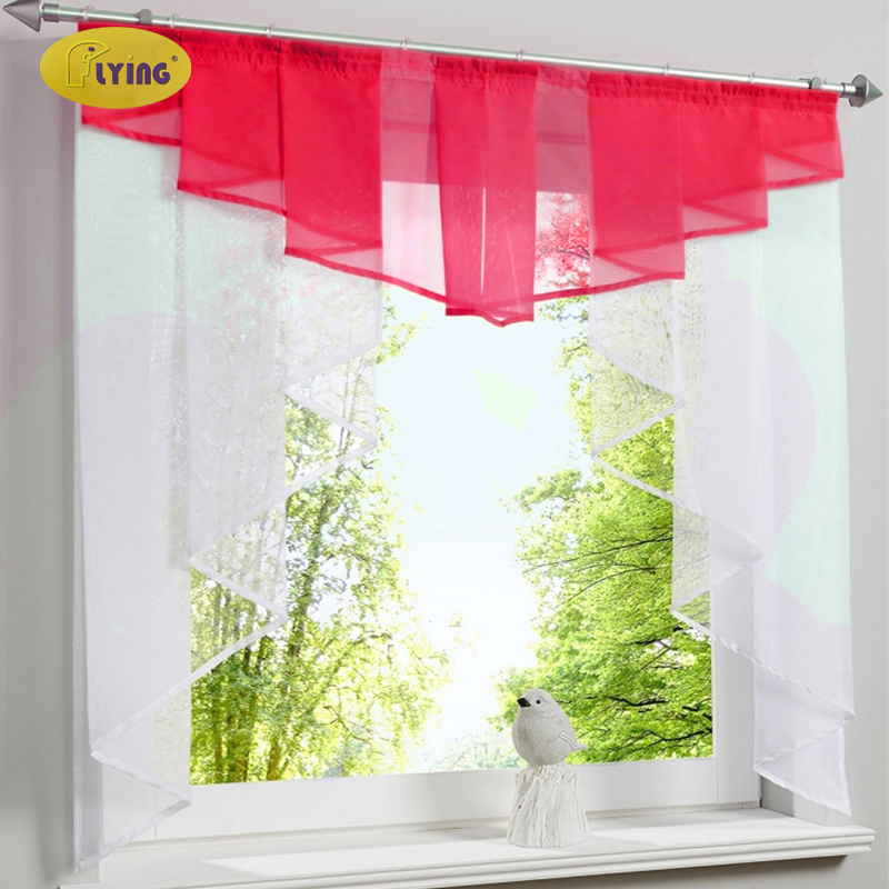 Flying White Yarn Curtains Tulle Kitchen Curtain For Window Balcony Rome Pleated Design Stitching Colors Voile Sheer Drape Short